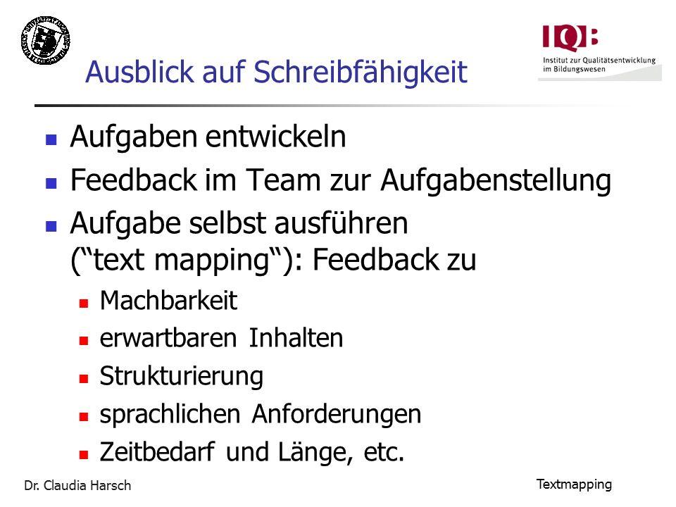 """Dr. Claudia Harsch Textmapping Ausblick auf Schreibfähigkeit Aufgaben entwickeln Feedback im Team zur Aufgabenstellung Aufgabe selbst ausführen (""""text"""