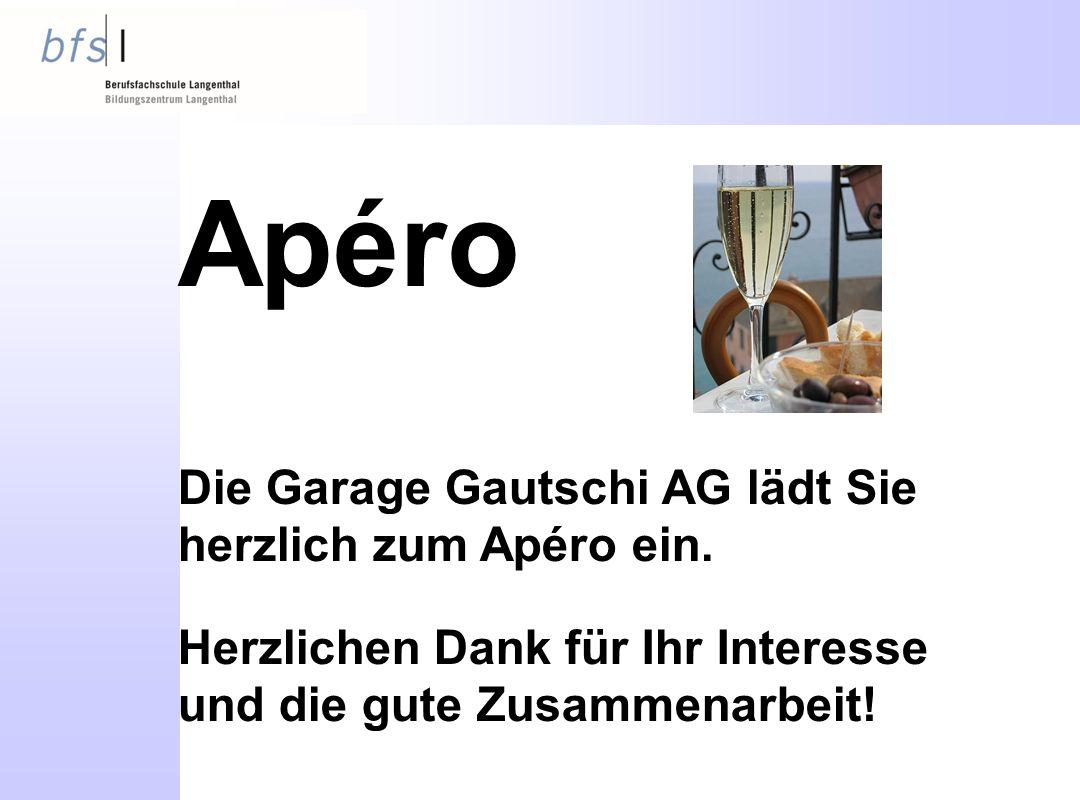 Apéro Die Garage Gautschi AG lädt Sie herzlich zum Apéro ein.