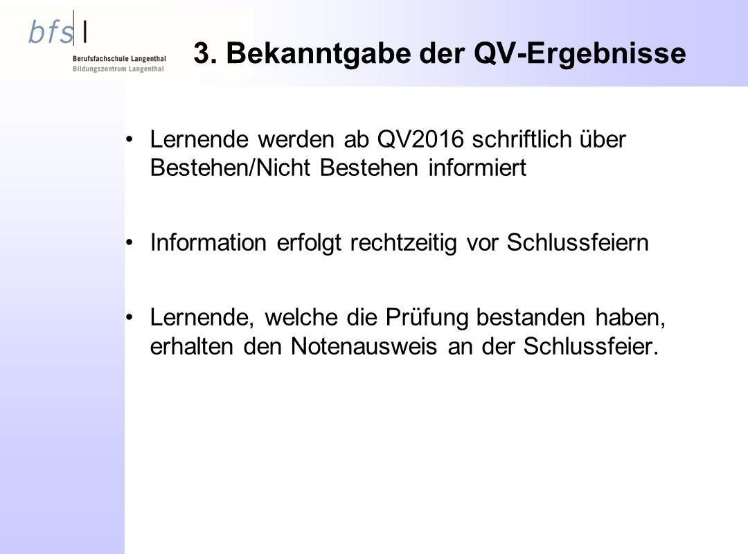 3. Bekanntgabe der QV-Ergebnisse Lernende werden ab QV2016 schriftlich über Bestehen/Nicht Bestehen informiert Information erfolgt rechtzeitig vor Sch