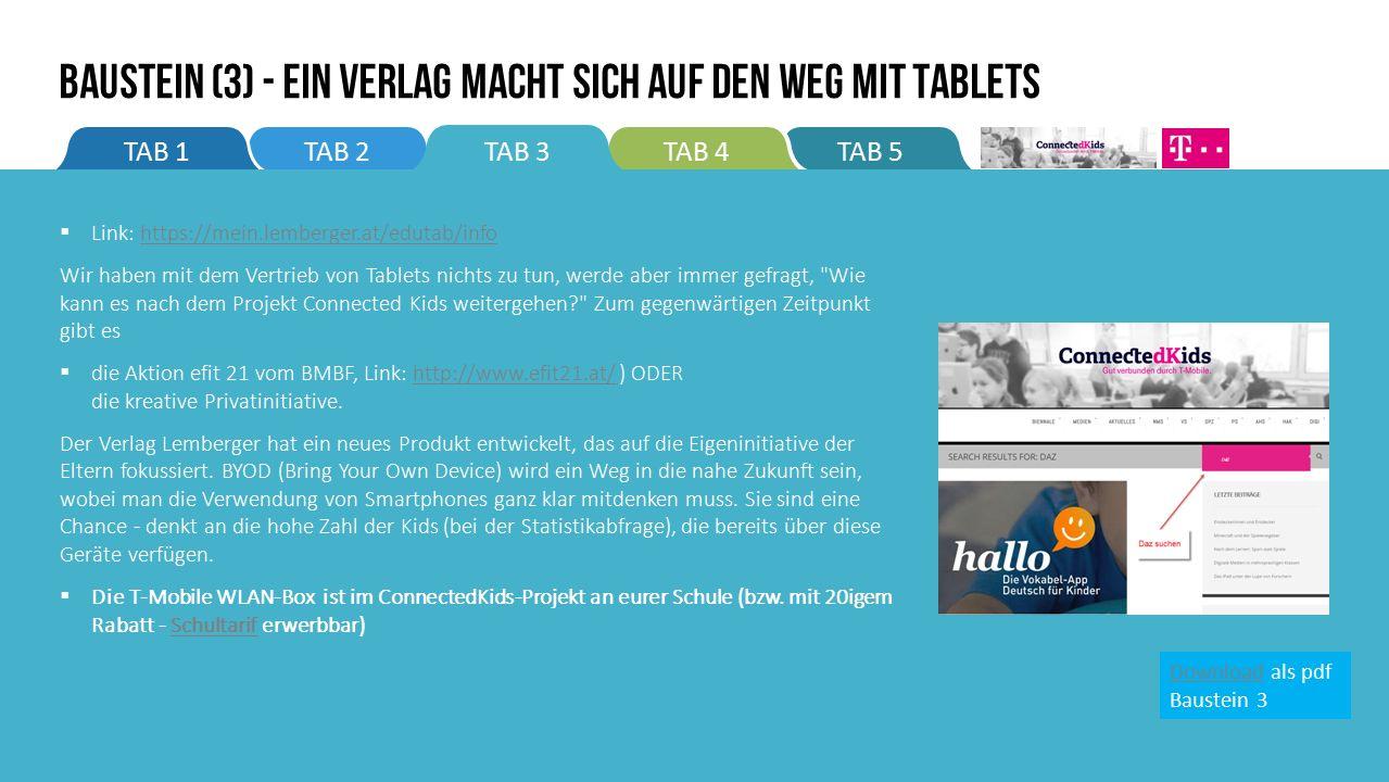 TAB 5TAB 4TAB 2TAB 1TAB 3 BAUSTEIN (3) - Ein Verlag macht sich auf den Weg mit Tablets  Link: https://mein.lemberger.at/edutab/infohttps://mein.lemberger.at/edutab/info Wir haben mit dem Vertrieb von Tablets nichts zu tun, werde aber immer gefragt, Wie kann es nach dem Projekt Connected Kids weitergehen? Zum gegenwärtigen Zeitpunkt gibt es  die Aktion efit 21 vom BMBF, Link: http://www.efit21.at/ ) ODER die kreative Privatinitiative.http://www.efit21.at/ Der Verlag Lemberger hat ein neues Produkt entwickelt, das auf die Eigeninitiative der Eltern fokussiert.
