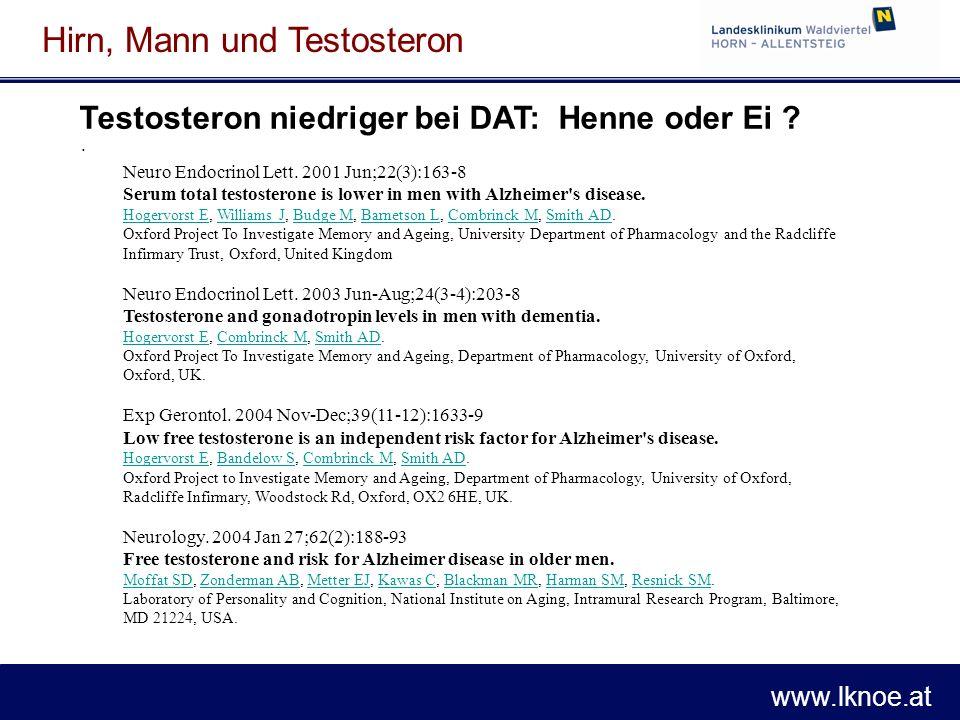 www.lknoe.at Hirn, Mann und Testosteron Testosteron niedriger bei DAT: Henne oder Ei ?. Neuro Endocrinol Lett. 2001 Jun;22(3):163-8 Serum total testos