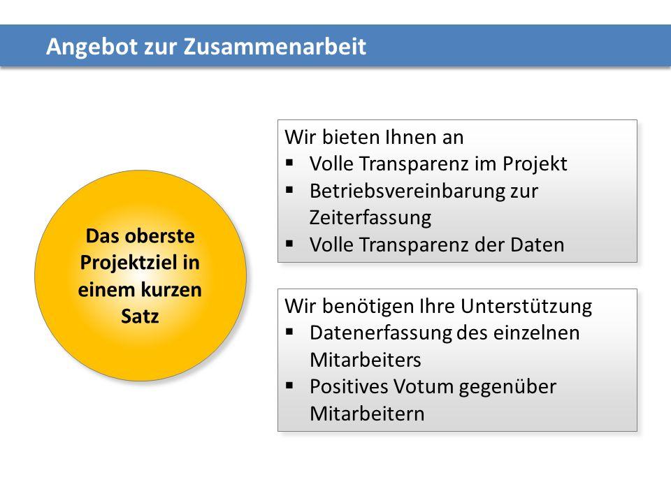 Angebot zur Zusammenarbeit Wir bieten Ihnen an  Volle Transparenz im Projekt  Betriebsvereinbarung zur Zeiterfassung  Volle Transparenz der Daten W
