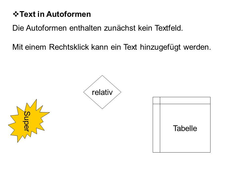  Text in Autoformen Die Autoformen enthalten zunächst kein Textfeld.