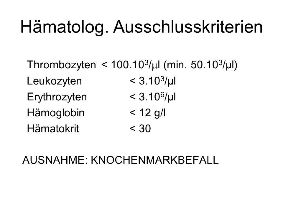 Hämatolog. Ausschlusskriterien Thrombozyten< 100.10 3 /  l (min. 50.10 3 /μl) Leukozyten< 3.10 3 /μl Erythrozyten< 3.10 6 /μl Hämoglobin< 12 g/l Häma
