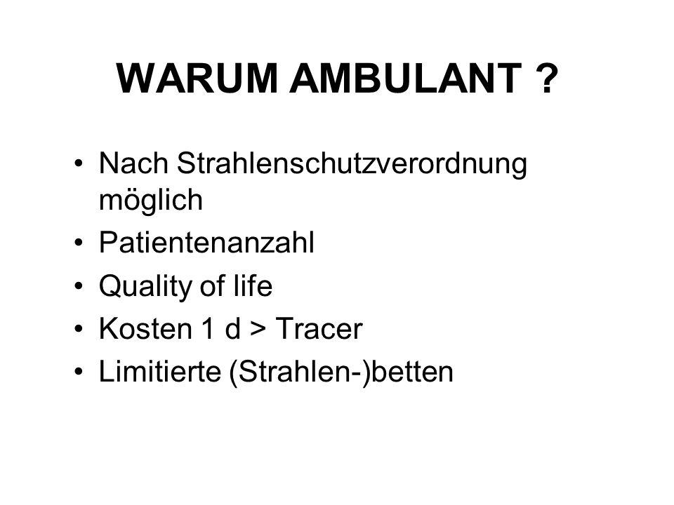 WARUM AMBULANT ? Nach Strahlenschutzverordnung möglich Patientenanzahl Quality of life Kosten 1 d > Tracer Limitierte (Strahlen-)betten