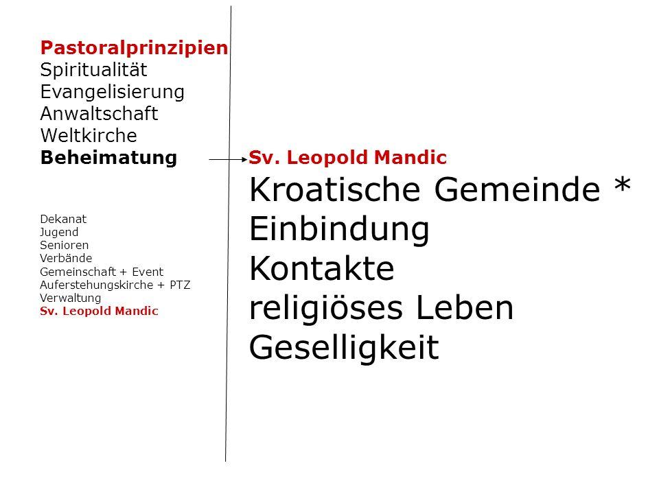 Sv. Leopold Mandic Kroatische Gemeinde * Einbindung Kontakte religiöses Leben Geselligkeit Pastoralprinzipien Spiritualität Evangelisierung Anwaltscha