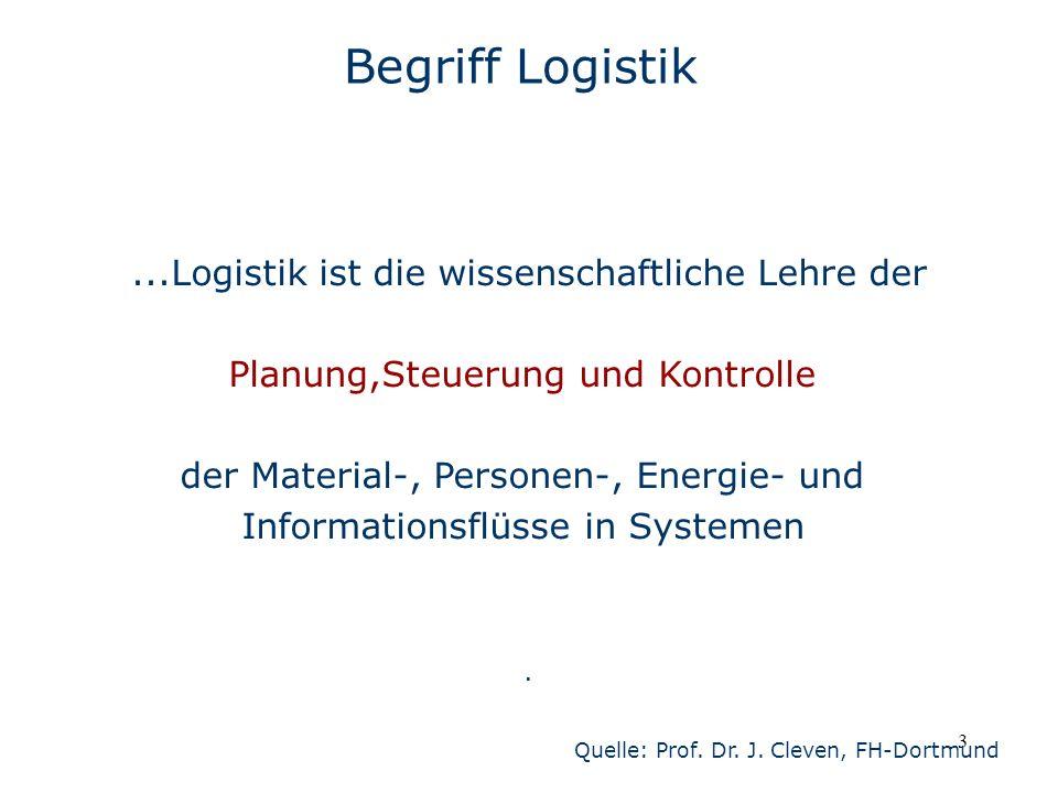4 Begriff Logistik Zur Logistik gehören alle planenden, steuernden und durchführenden Tätigkeiten, die einer bedarfsgerechten nach Art, Menge, Raum und Zeit abgestimmten Bereitstellung von Material und Informationen dienen.