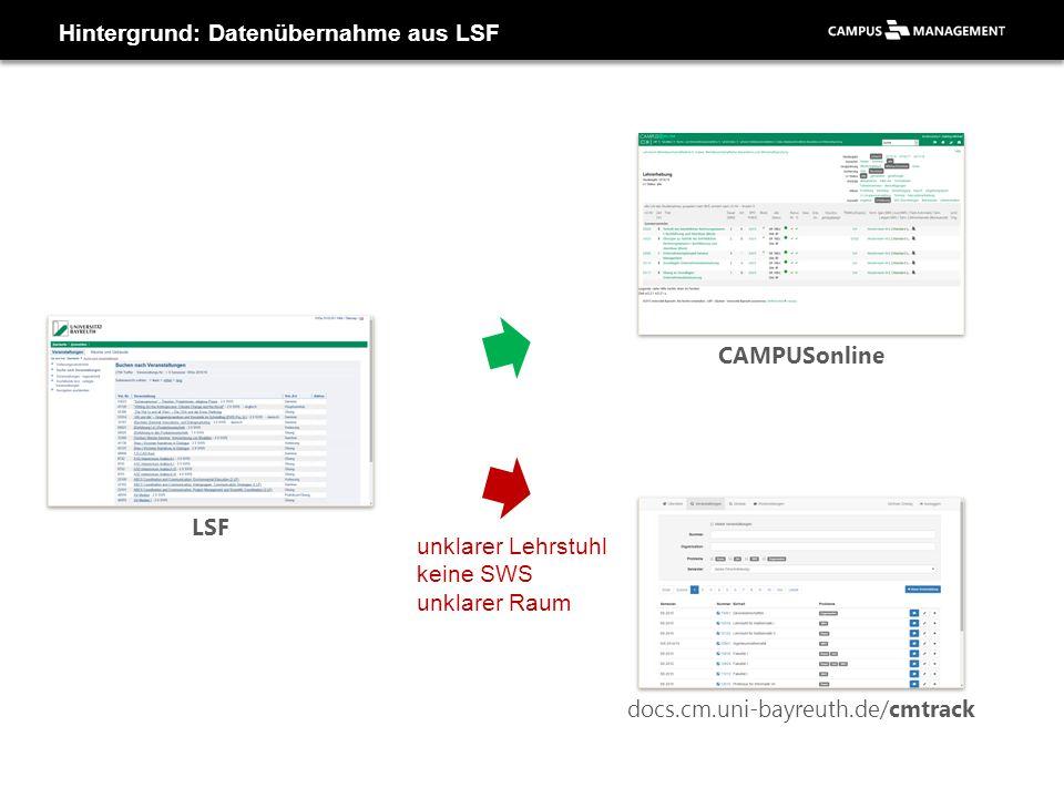 Hintergrund: Datenübernahme aus LSF CAMPUSonline LSF docs.cm.uni-bayreuth.de/cmtrack unklarer Lehrstuhl keine SWS unklarer Raum