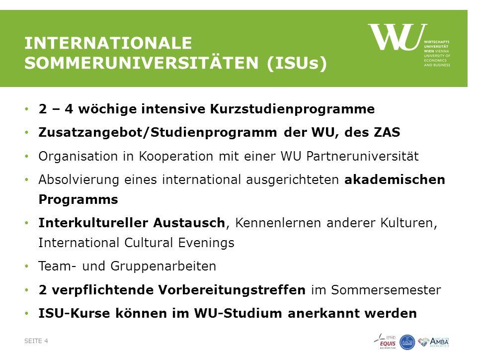 Programme 2016 SEITE 5 ISUs der WU: ISU China ISU Indonesien ISU Thammasat ISU Estonia ISU St.