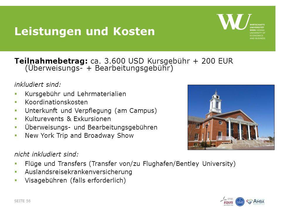 Leistungen und Kosten Teilnahmebetrag: ca.