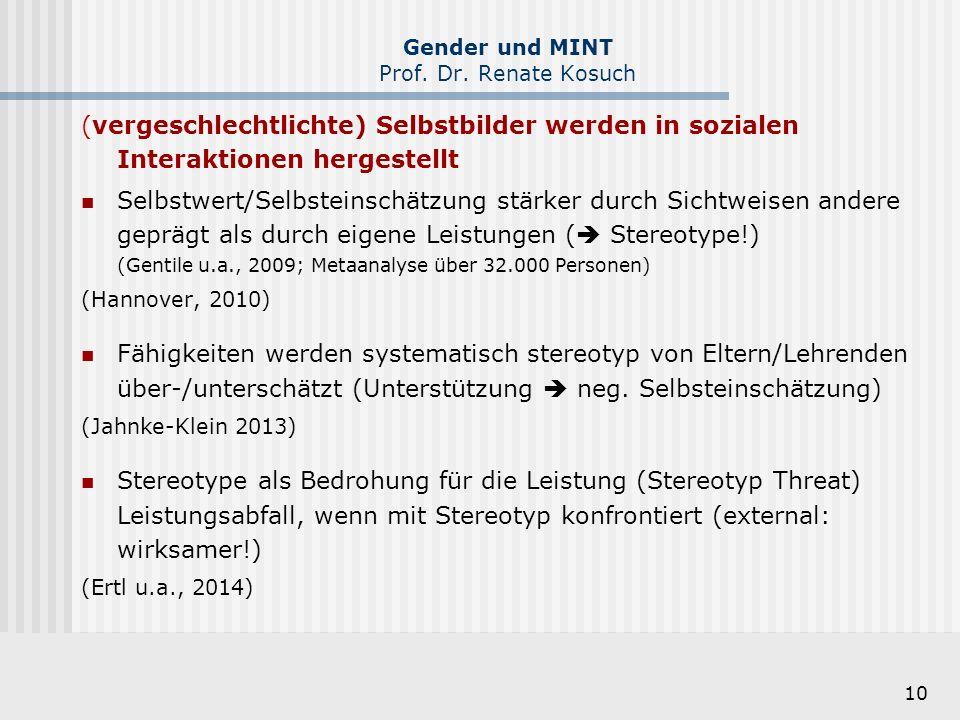 10 Gender und MINT Prof. Dr. Renate Kosuch (vergeschlechtlichte) Selbstbilder werden in sozialen Interaktionen hergestellt Selbstwert/Selbsteinschätzu