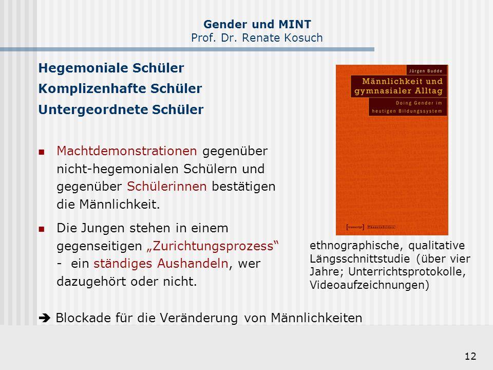 12 Gender und MINT Prof. Dr. Renate Kosuch Hegemoniale Schüler Komplizenhafte Schüler Untergeordnete Schüler Machtdemonstrationen gegenüber nicht-hege