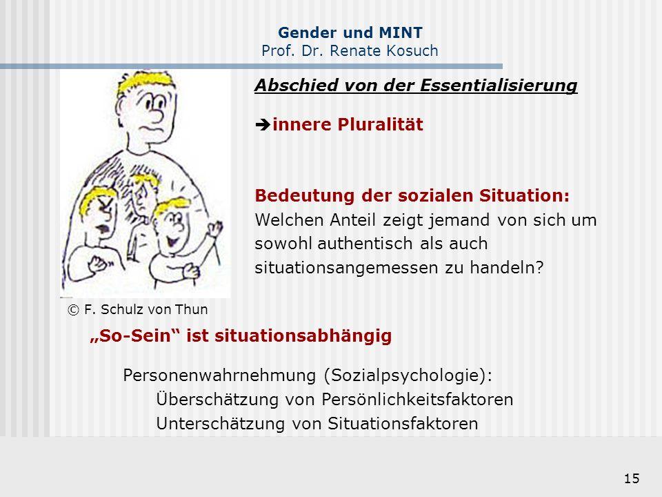 15 Gender und MINT Prof. Dr. Renate Kosuch © F. Schulz von Thun Abschied von der Essentialisierung  innere Pluralität Bedeutung der sozialen Situatio