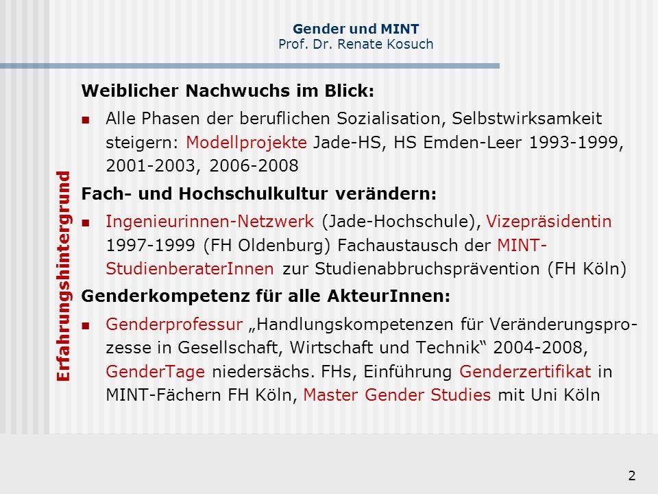 2 Weiblicher Nachwuchs im Blick: Alle Phasen der beruflichen Sozialisation, Selbstwirksamkeit steigern: Modellprojekte Jade-HS, HS Emden-Leer 1993-199