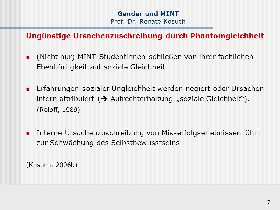 7 Gender und MINT Prof. Dr. Renate Kosuch Ungünstige Ursachenzuschreibung durch Phantomgleichheit (Nicht nur) MINT-Studentinnen schließen von ihrer fa