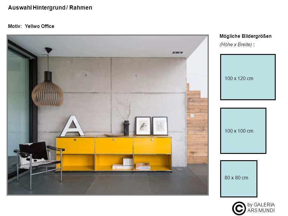 by GALERIA ARS MUNDI Auswahl Hintergrund / Rahmen Motiv: Yellwo Office Mögliche Bildergrößen (Höhe x Breite) : 100 x 100 cm 80 x 80 cm 100 x 120 cm