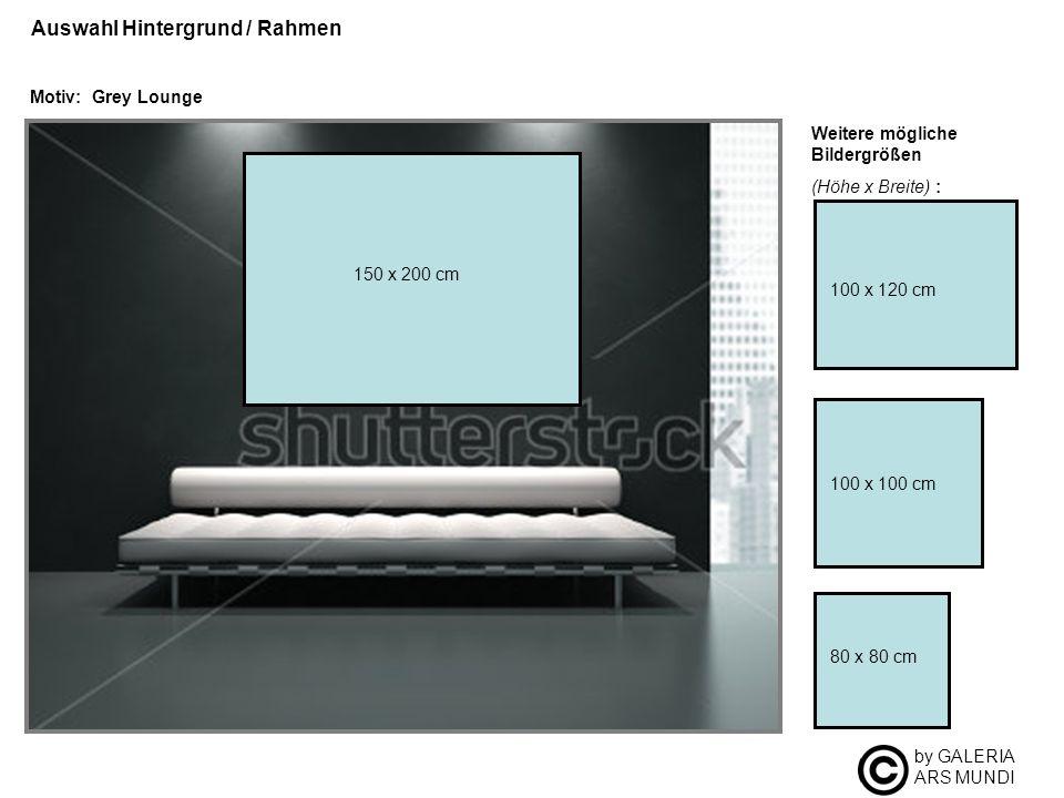 by GALERIA ARS MUNDI Auswahl Hintergrund / Rahmen Motiv: Grey Lounge Weitere mögliche Bildergrößen (Höhe x Breite) : 100 x 100 cm 80 x 80 cm 100 x 120