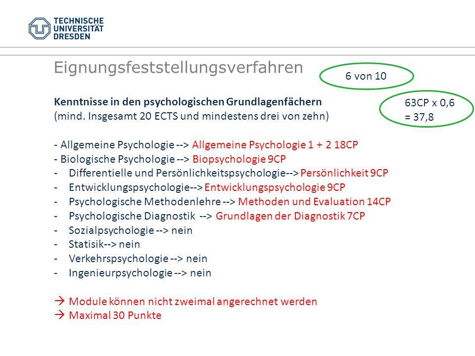 Eignungsfeststellungsverfahren Kenntnisse in den psychologischen Grundlagenfächern (mind. Insgesamt 20 ECTS und mindestens drei von zehn) - Allgemeine