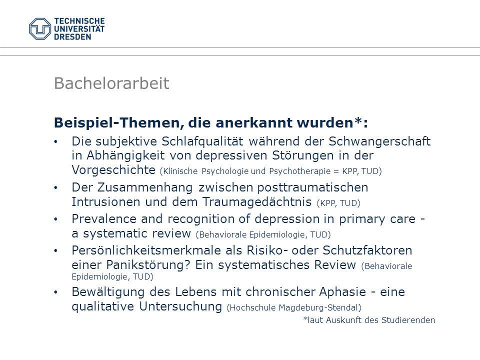 Beispiel-Themen, die anerkannt wurden*: Die subjektive Schlafqualität während der Schwangerschaft in Abhängigkeit von depressiven Störungen in der Vor