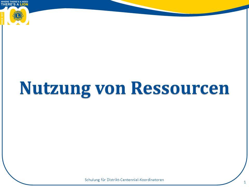 Nutzung von Ressourcen Schulung für Distrikt-Centennial-Koordinatoren 1