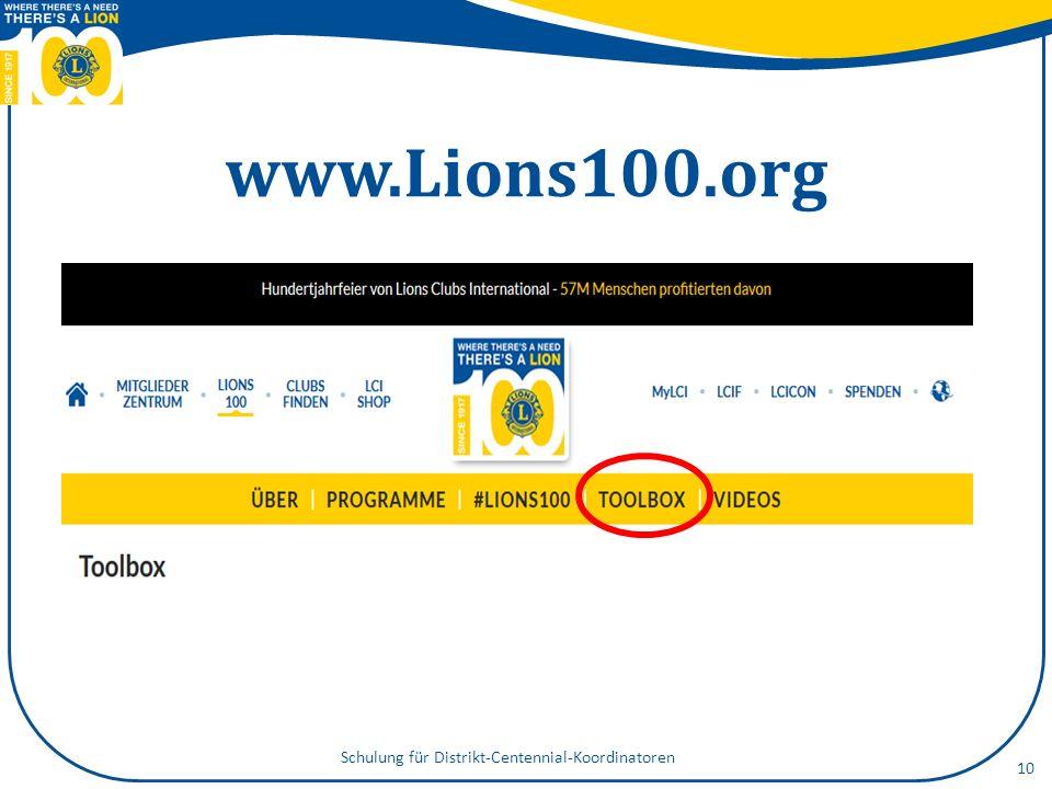 www.Lions100.org Schulung für Distrikt-Centennial-Koordinatoren 10