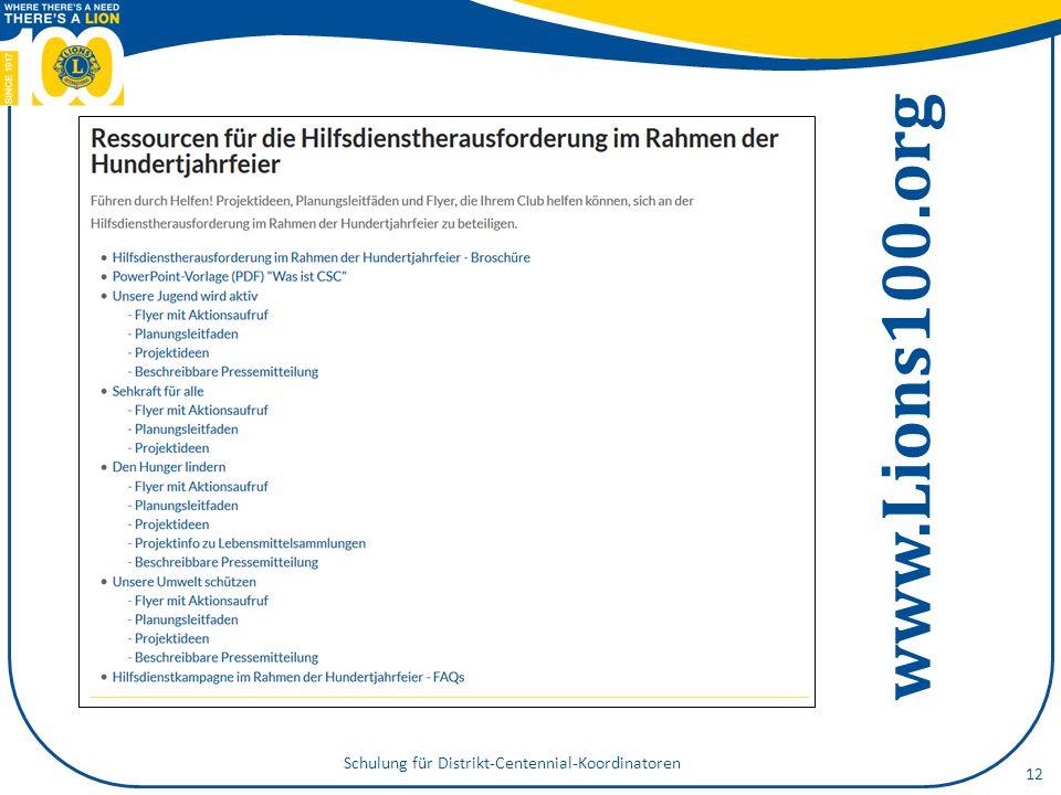 www.Lions100.org Schulung für Distrikt-Centennial-Koordinatoren 12