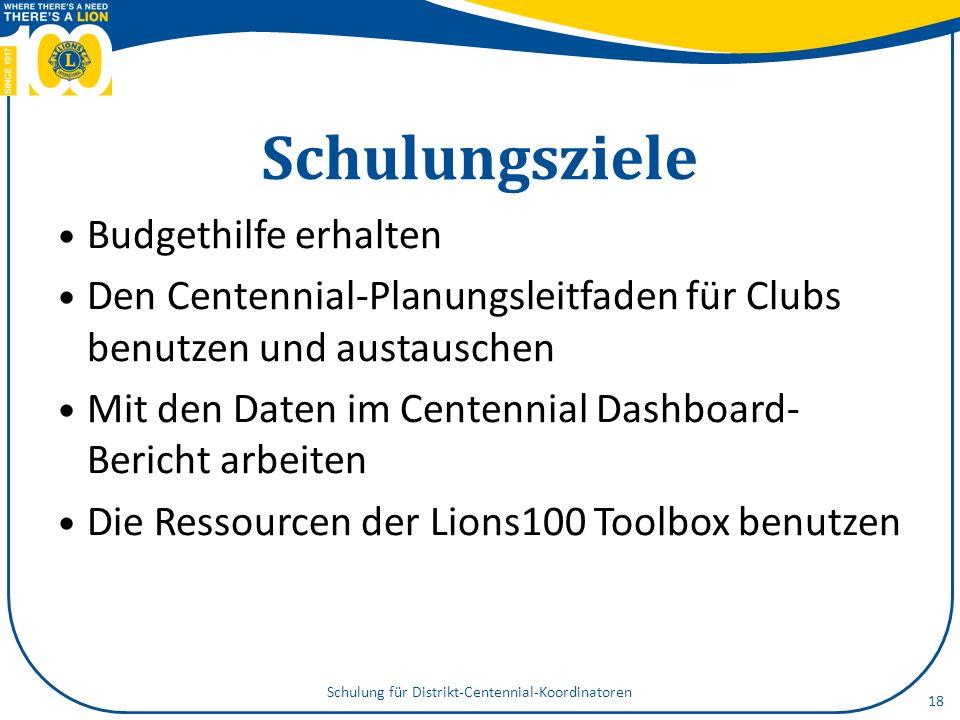Schulungsziele Budgethilfe erhalten Den Centennial-Planungsleitfaden für Clubs benutzen und austauschen Mit den Daten im Centennial Dashboard- Bericht arbeiten Die Ressourcen der Lions100 Toolbox benutzen Schulung für Distrikt-Centennial-Koordinatoren 18