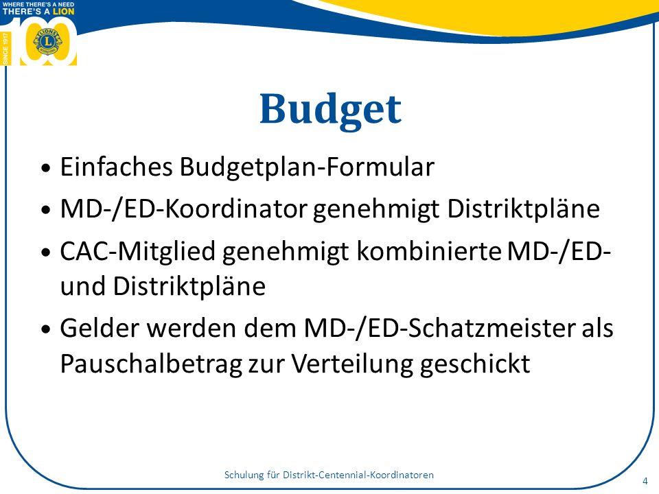 Budget Einfaches Budgetplan-Formular MD-/ED-Koordinator genehmigt Distriktpläne CAC-Mitglied genehmigt kombinierte MD-/ED- und Distriktpläne Gelder we