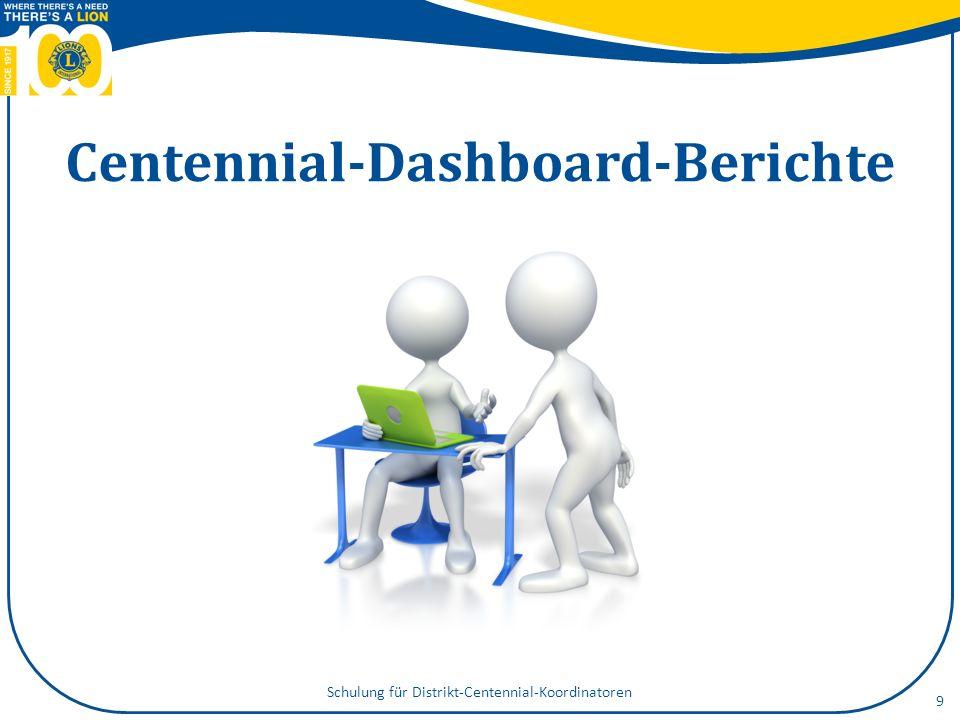 Centennial-Dashboard-Berichte Schulung für Distrikt-Centennial-Koordinatoren 9