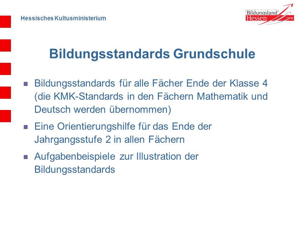 Hessisches Kultusministerium Bildungsstandards Grundschule Bildungsstandards für alle Fächer Ende der Klasse 4 (die KMK-Standards in den Fächern Mathe