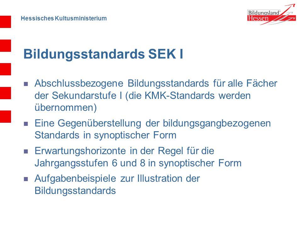 Hessisches Kultusministerium Bildungsstandards SEK I Abschlussbezogene Bildungsstandards für alle Fächer der Sekundarstufe I (die KMK-Standards werden