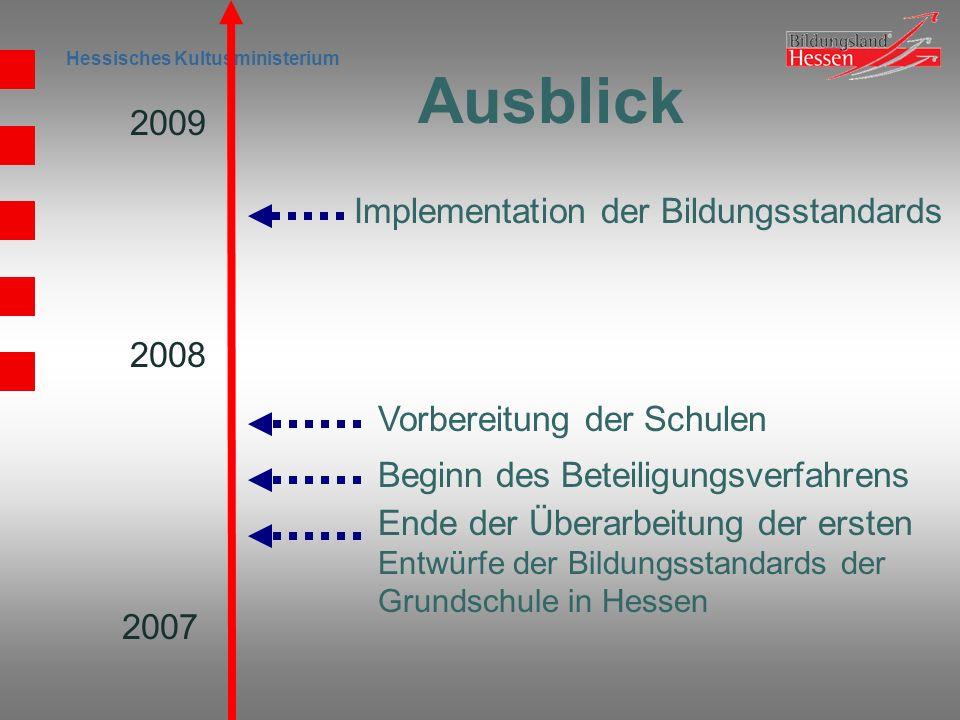 Hessisches Kultusministerium 2007 2009 2008 Ende der Überarbeitung der ersten Entwürfe der Bildungsstandards der Grundschule in Hessen Beginn des Bete