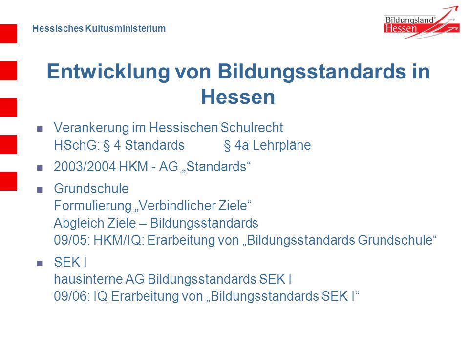 Hessisches Kultusministerium Entwicklung von Bildungsstandards in Hessen Verankerung im Hessischen Schulrecht HSchG: § 4 Standards § 4a Lehrpläne 2003