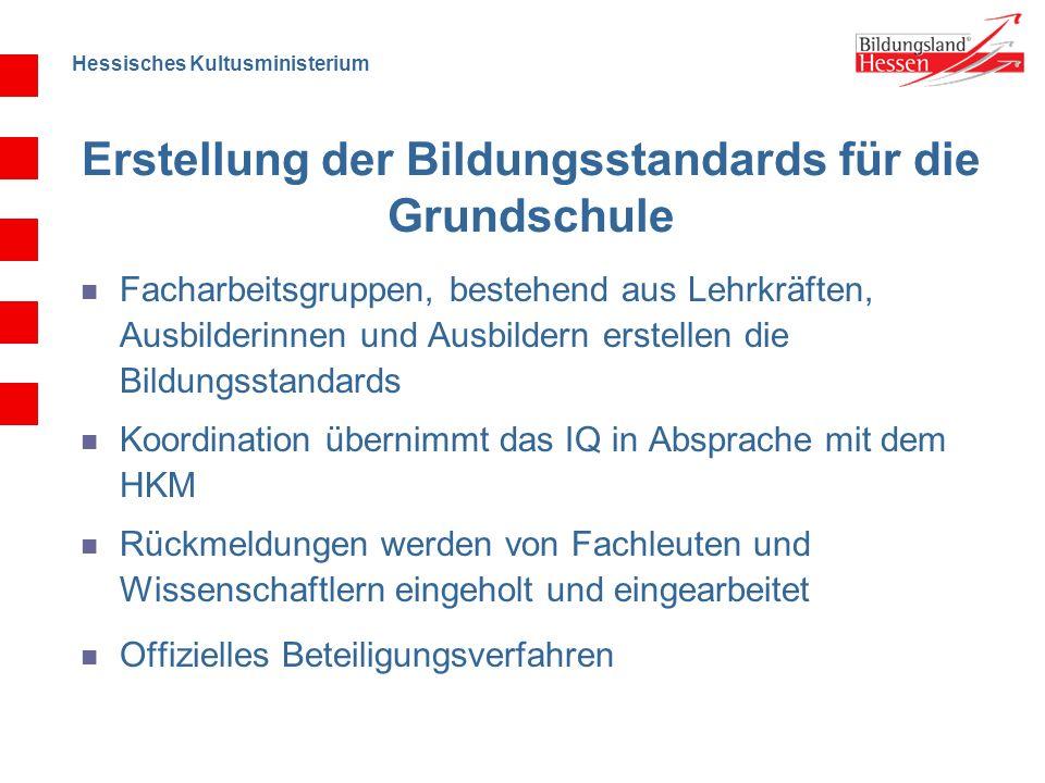 Hessisches Kultusministerium Erstellung der Bildungsstandards für die Grundschule Facharbeitsgruppen, bestehend aus Lehrkräften, Ausbilderinnen und Au