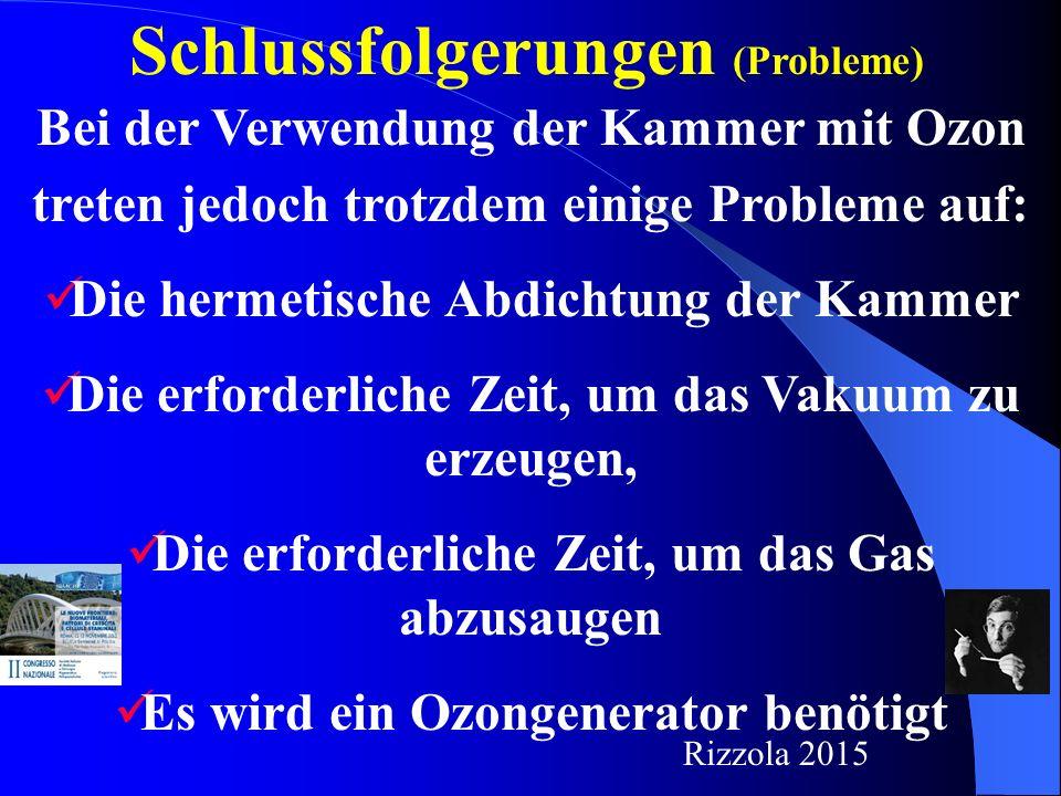 Schlussfolgerungen (Probleme) Bei der Verwendung der Kammer mit Ozon treten jedoch trotzdem einige Probleme auf: Die hermetische Abdichtung der Kammer Die erforderliche Zeit, um das Vakuum zu erzeugen, Die erforderliche Zeit, um das Gas abzusaugen Es wird ein Ozongenerator benötigt Rizzola 2015