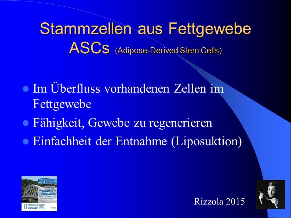 Stammzellen aus Fettgewebe ASCs (Adipose-Derived Stem Cells) Im Überfluss vorhandenen Zellen im Fettgewebe Fähigkeit, Gewebe zu regenerieren Einfachheit der Entnahme (Liposuktion) Rizzola 2015