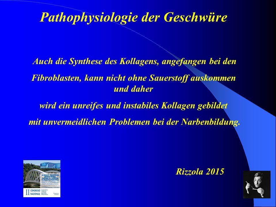 Pathophysiologie der Geschwüre Wir müssen auf folgendes abzielen: a)Eine optimale Sauerstoffversorgung b)Eine vollständige Wundreinigung c)Eine Zellstimulation, d)Eine gute Durchblutung Rizzola 2015.
