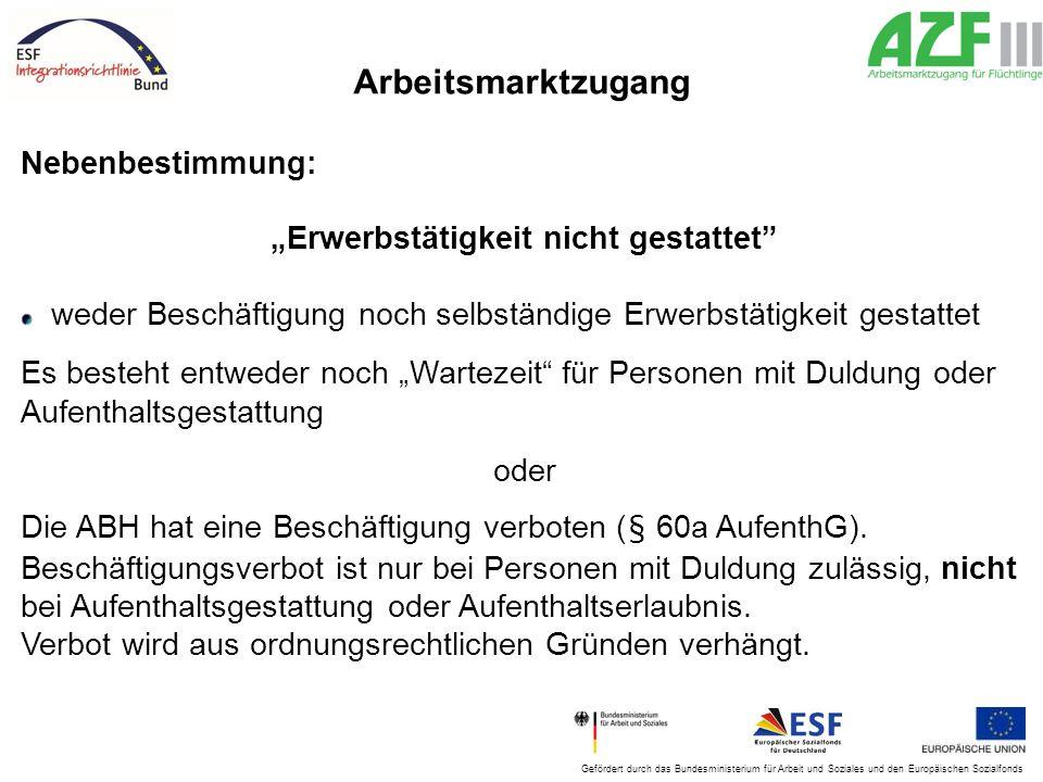 """Gefördert durch das Bundesministerium für Arbeit und Soziales und den Europäischen Sozialfonds Arbeitsmarktzugang Nebenbestimmung: """"Erwerbstätigkeit n"""