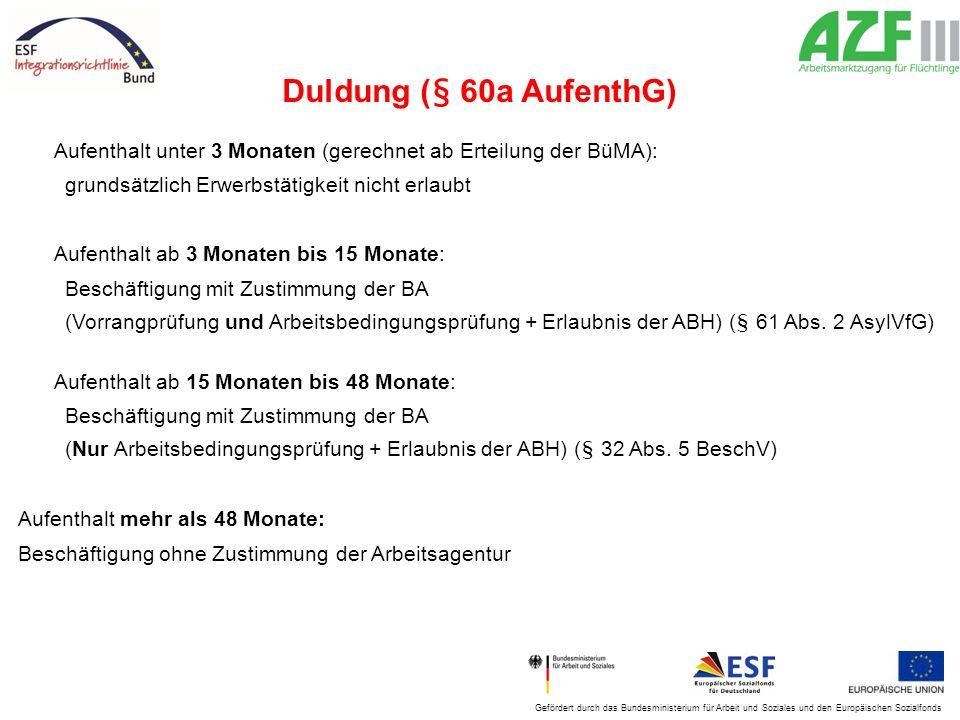 Gefördert durch das Bundesministerium für Arbeit und Soziales und den Europäischen Sozialfonds Duldung (§ 60a AufenthG) Aufenthalt unter 3 Monaten (ge