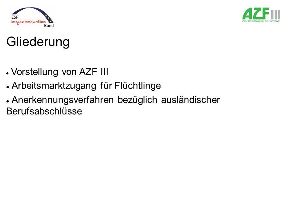 Gliederung Vorstellung von AZF III Arbeitsmarktzugang für Flüchtlinge Anerkennungsverfahren bezüglich ausländischer Berufsabschlüsse