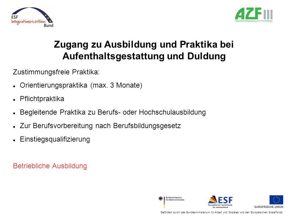 Gefördert durch das Bundesministerium für Arbeit und Soziales und den Europäischen Sozialfonds Zugang zu Ausbildung und Praktika bei Aufenthaltsgestat