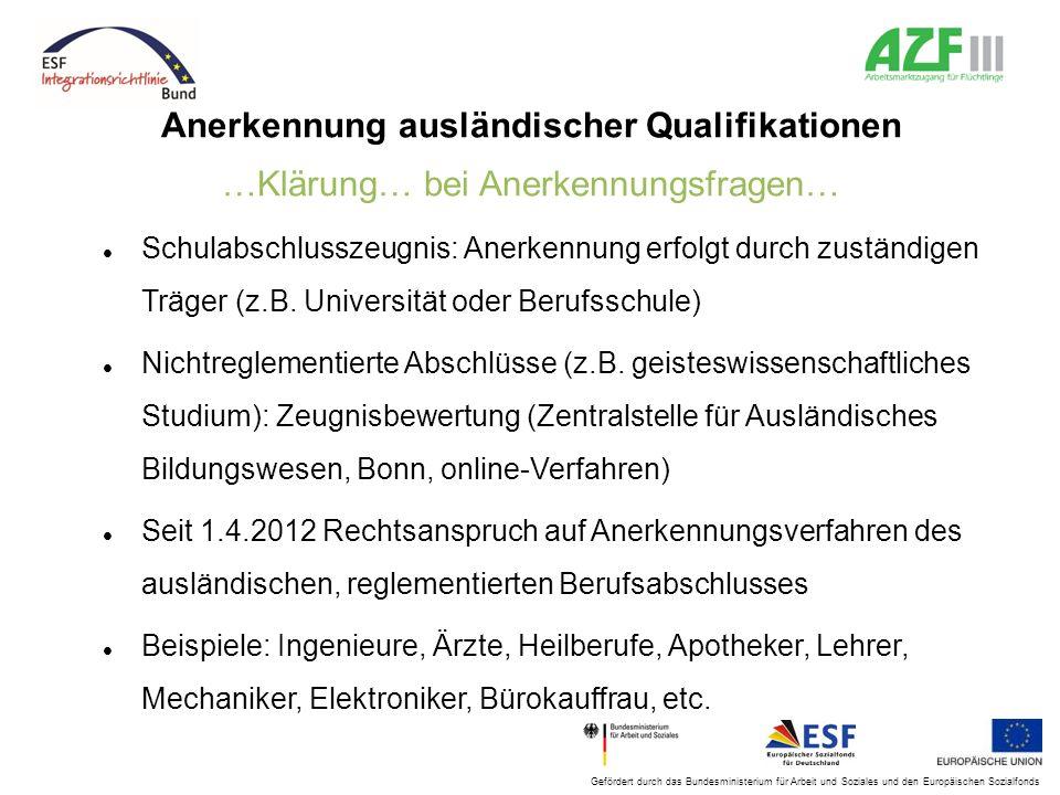 Gefördert durch das Bundesministerium für Arbeit und Soziales und den Europäischen Sozialfonds Anerkennung ausländischer Qualifikationen …Klärung… bei