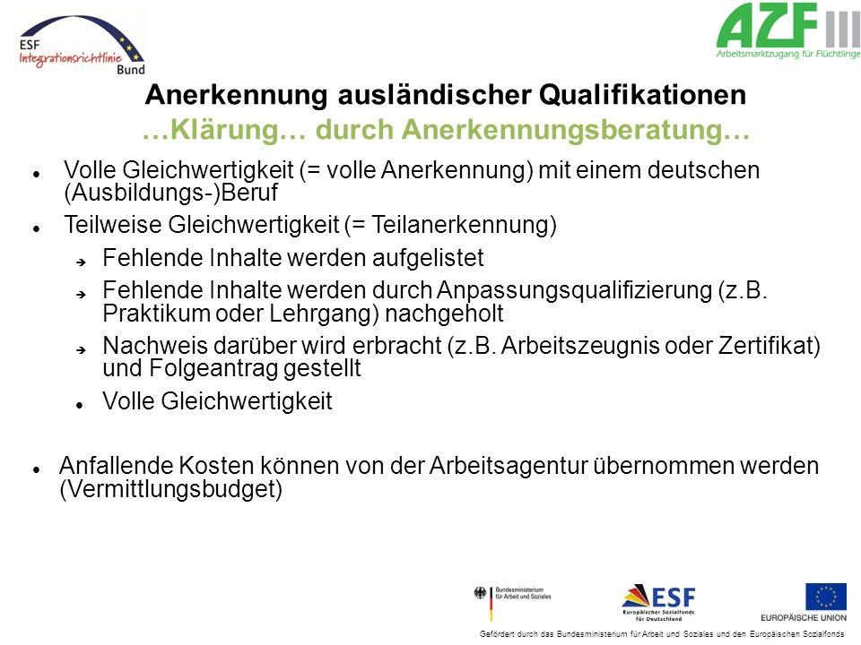 Gefördert durch das Bundesministerium für Arbeit und Soziales und den Europäischen Sozialfonds Anerkennung ausländischer Qualifikationen …Klärung… dur