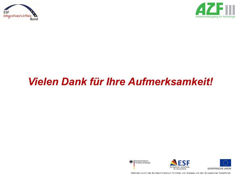 Gefördert durch das Bundesministerium für Arbeit und Soziales und den Europäischen Sozialfonds Vielen Dank für Ihre Aufmerksamkeit!