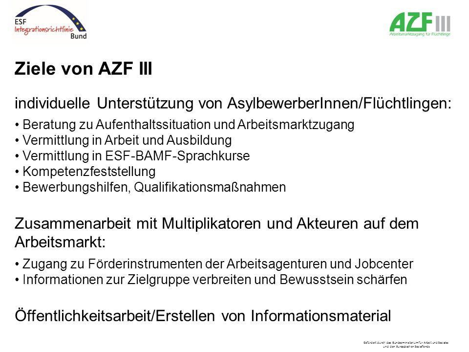 Ziele von AZF III individuelle Unterstützung von AsylbewerberInnen/Flüchtlingen: Beratung zu Aufenthaltssituation und Arbeitsmarktzugang Vermittlung i