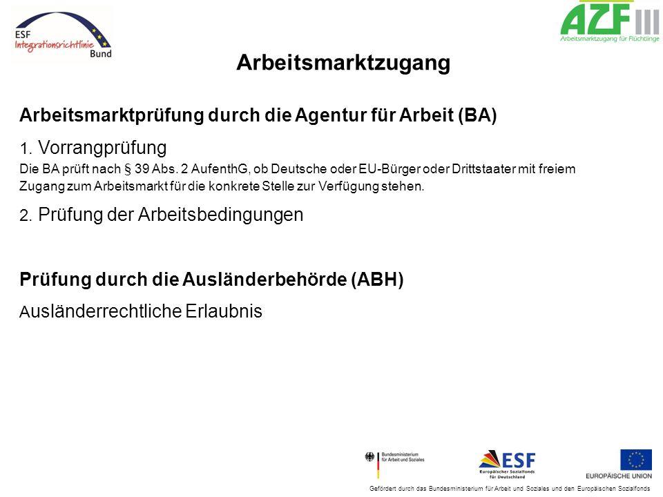 Gefördert durch das Bundesministerium für Arbeit und Soziales und den Europäischen Sozialfonds Arbeitsmarktzugang Arbeitsmarktprüfung durch die Agentu