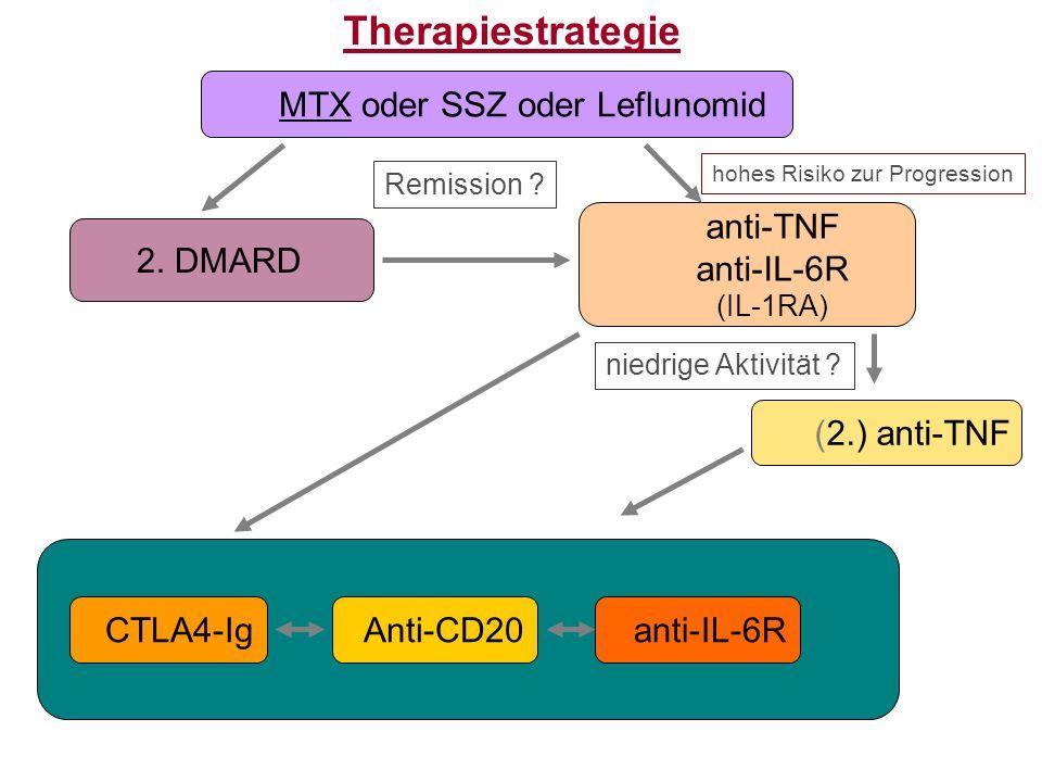 Therapiestrategie MTX oder SSZ oder Leflunomid 2. DMARD anti-TNF anti-IL-6R (IL-1RA) (2.) anti-TNF anti-IL-6RCTLA4-IgAnti-CD20 Remission ? niedrige Ak