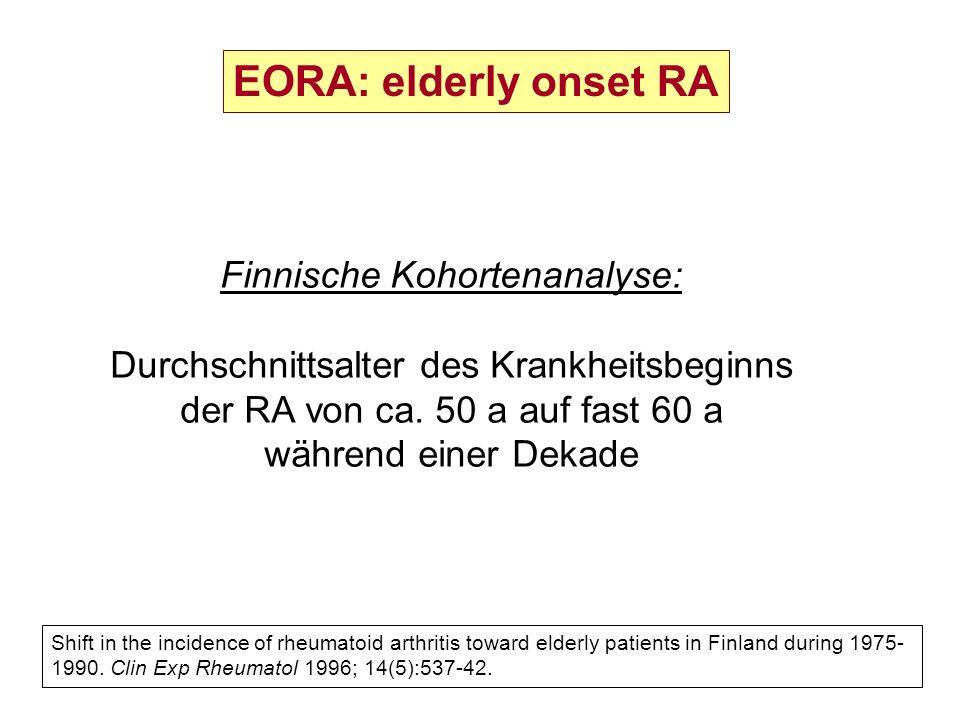 Finnische Kohortenanalyse: Durchschnittsalter des Krankheitsbeginns der RA von ca. 50 a auf fast 60 a während einer Dekade Shift in the incidence of r