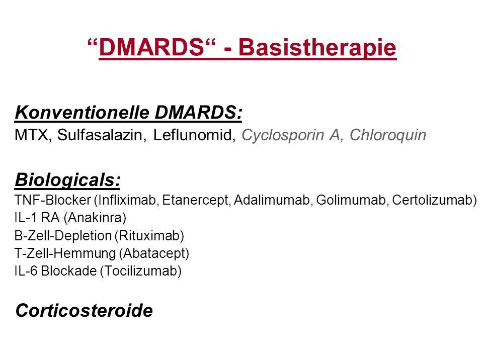 """""""DMARDS"""" - Basistherapie Konventionelle DMARDS: MTX, Sulfasalazin, Leflunomid, Cyclosporin A, Chloroquin Biologicals: TNF-Blocker (Infliximab, Etanerc"""