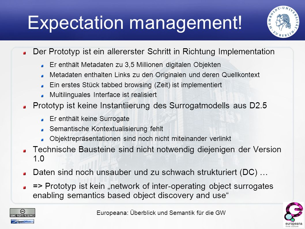 Europeana: Überblick und Semantik für die GW Expectation management.
